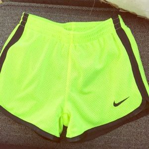 Neon green and black girl Nike shorts